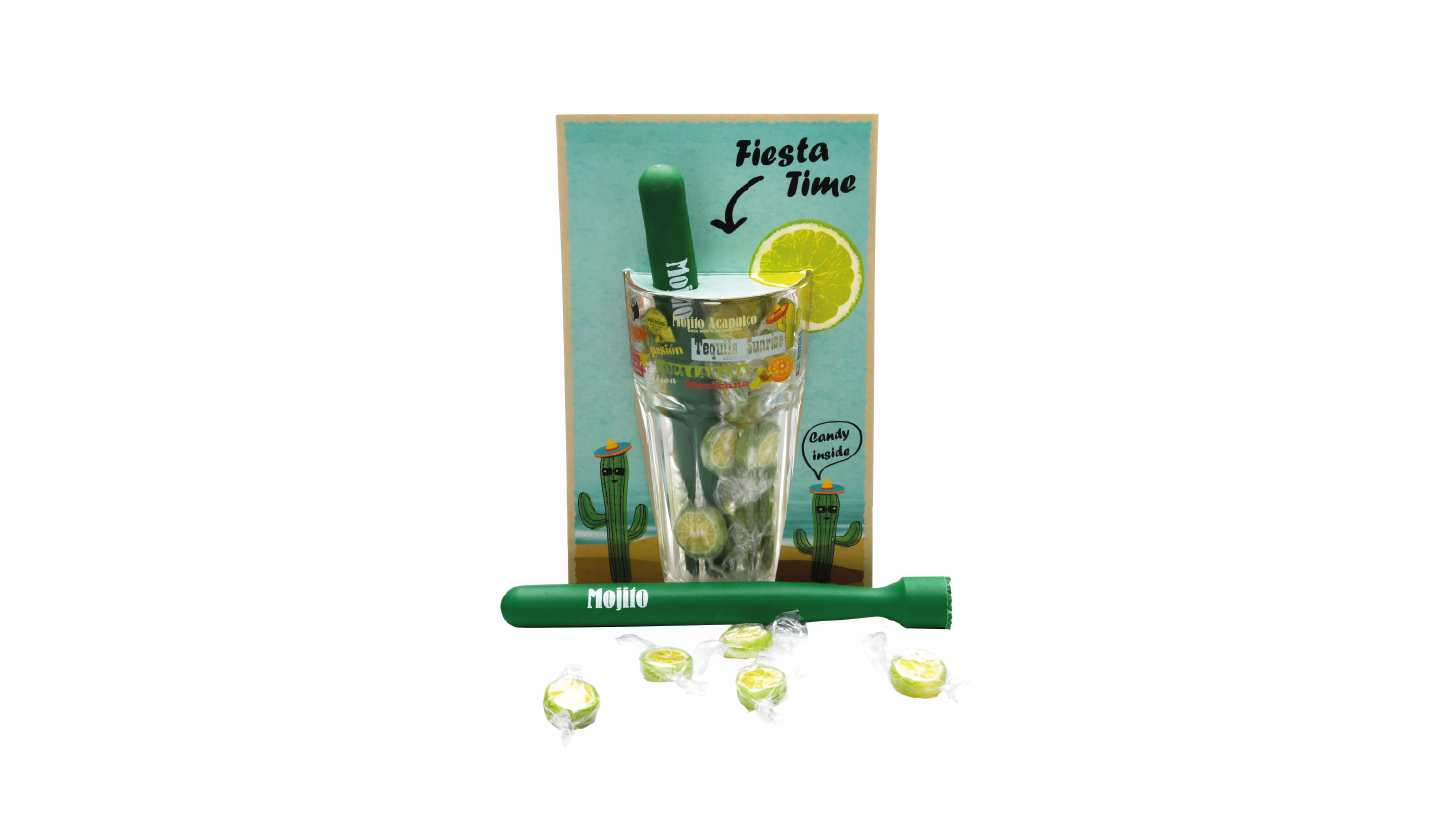 mojito glass with candies