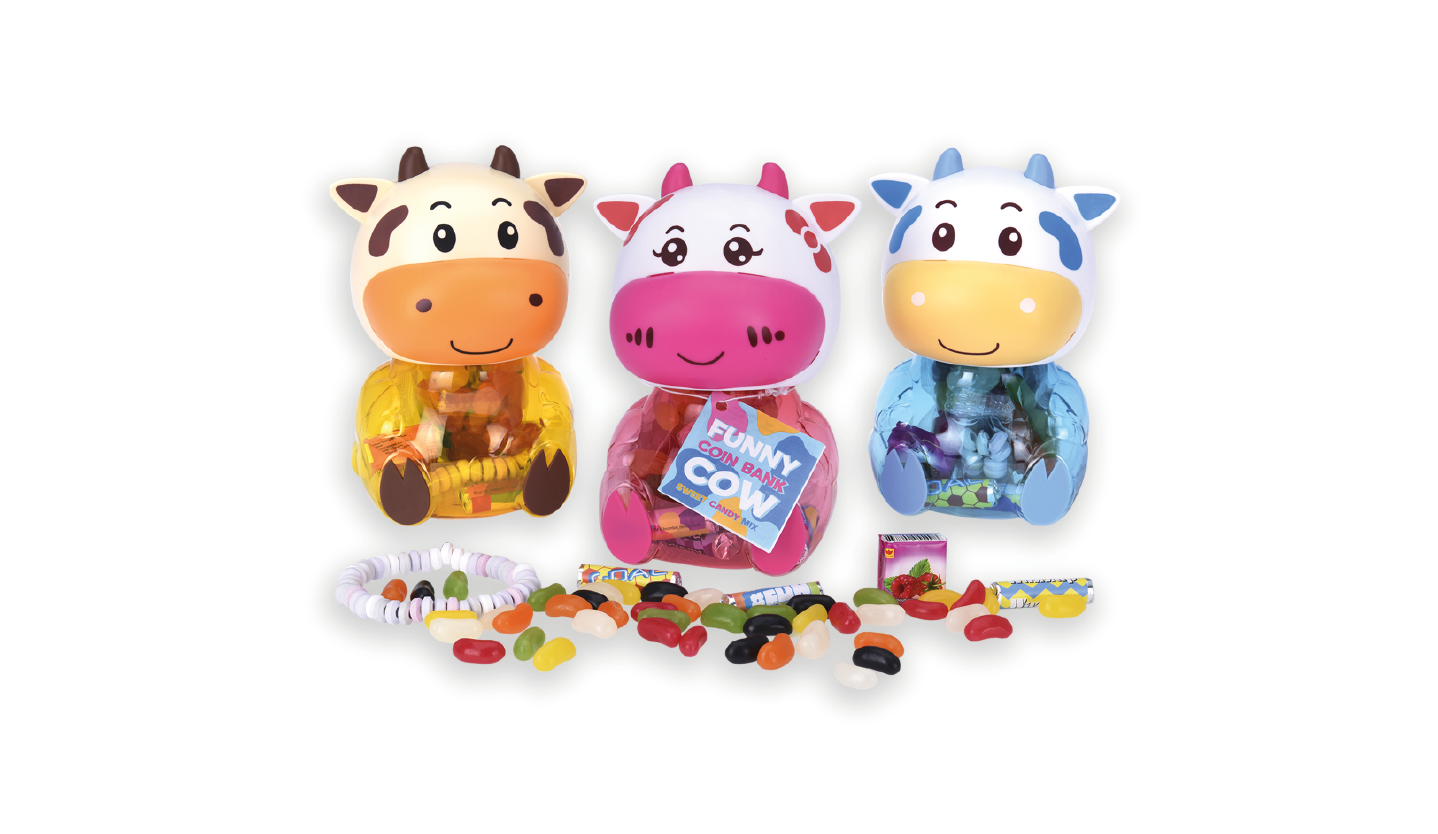 Colorful cow coin bank